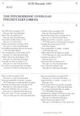 the psychofrenic overload: psychotalks 1988-91 1991